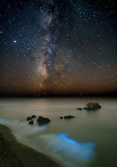 "Goat Rock Beach, Sonoma Coast State Park by Guy Miller. Oct 16, 2020 · Jenner, CA· ""Went to Goat Rock last night to take advantage of the moonless night to photograph the Milky Way. What I didn't expect was to see a bioluminescent display in the breaking waves. The glowing blue light is caused by a marine microorganism, a single-celled creature called a dinoflagellate. Through a chemical reaction they glow when disturbed by the breaking waves. It was truly a magical scene."""