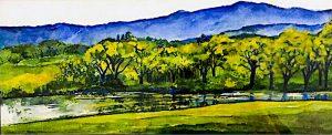 Blue Horizon, watercolor by Julianne Sooley
