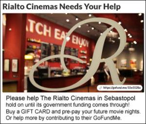 Rialto Cinemas Sebastopol fundraiser