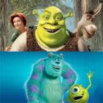 Shrek and Monsters Inc movies